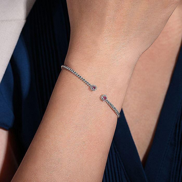 14K White Gold Bujukan Bead Split Cuff Bracelet with Ruby and Diamond Bangle