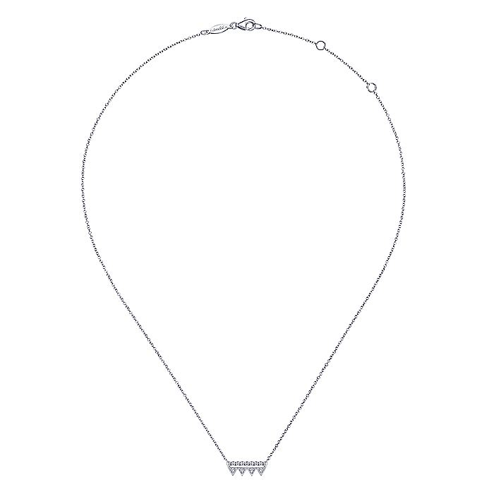 14K White Gold Bujukan Beaded Diamond Triangle Bar Necklace