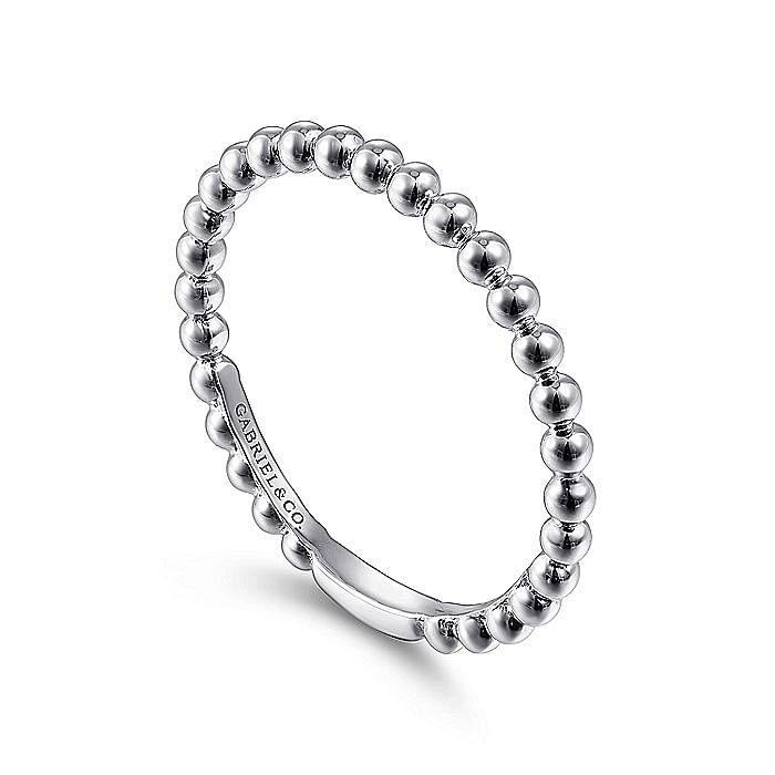 14K White Gold Bujukan Beaded Ladies Ring