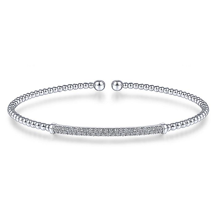 14K White Gold Bujukan Split Cuff Bracelet with Diamond Pavé Bar
