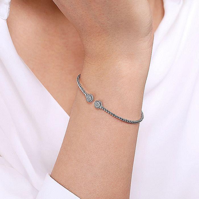 14K White Gold Bujukan Split Cuff Bracelet with Diamond Pavé Hexagon Caps
