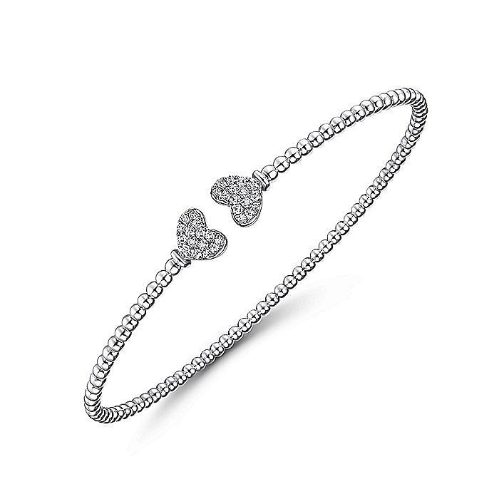 14K White Gold Bujukan Split Cuff Bracelet with Pavé Diamond Hearts