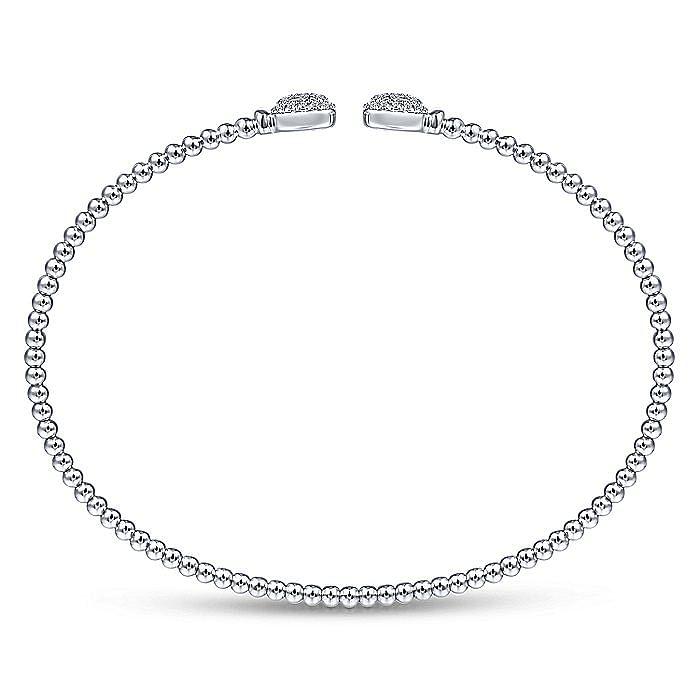 14K White Gold Bujukan Split Cuff Bracelet with Pavé Diamond Squares