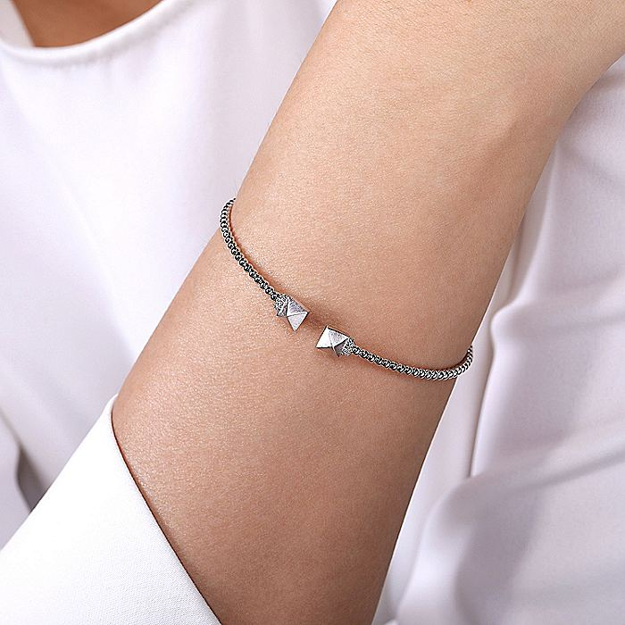 14K White Gold Bujukan Split Cuff Bracelet with Pyramid and Diamond Caps