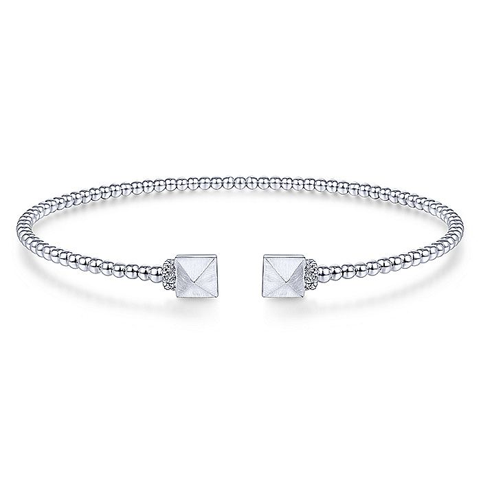 14K White Gold Bujukan Split Cuff Bracelet with Pyramid and Diamond Caps