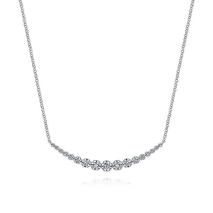 14K White Gold Buttercup Set Diamond Curved Bar Necklace