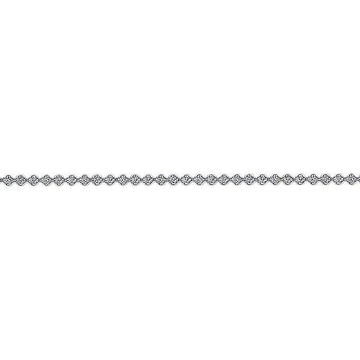 14K White Gold Buttercup Set Diamond Tennis Bracelet