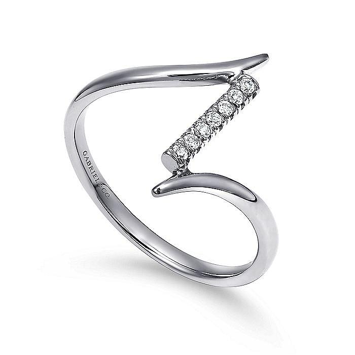 14K White Gold Bypass Diamond Column Midi Ring