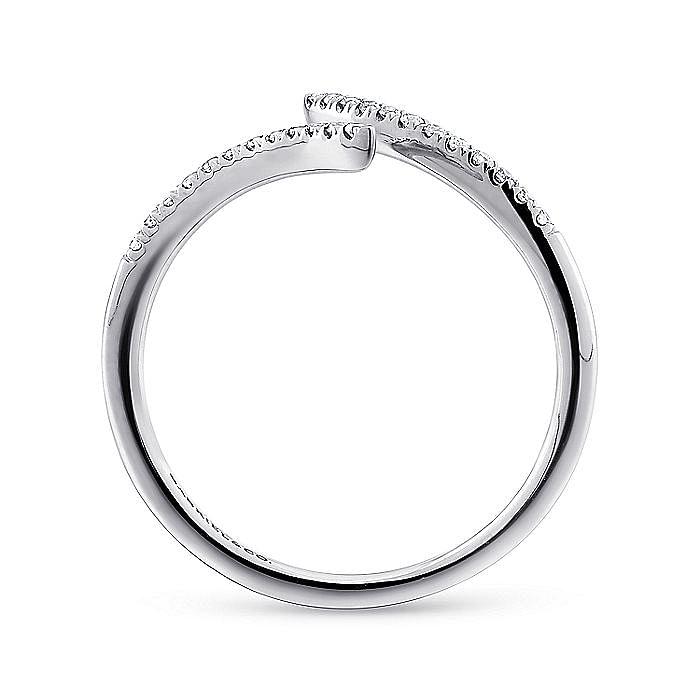 14K White Gold Bypass Split Diamond Ring