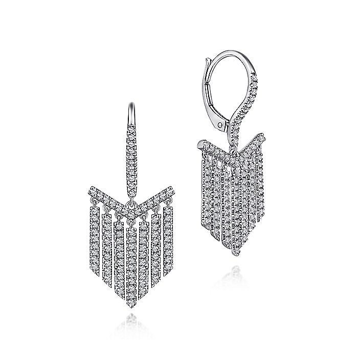 14K White Gold Cascading Diamond Drop Leverback Earrings