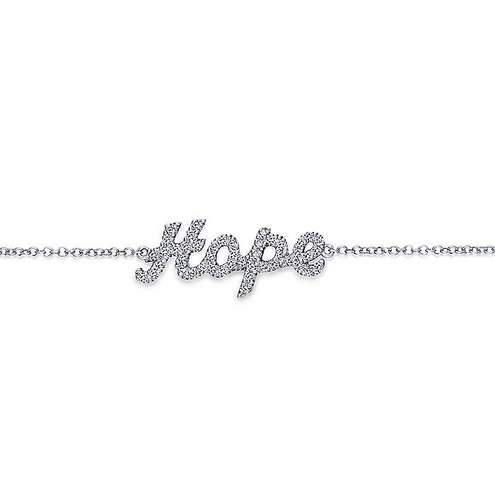 14K White Gold Chain Bracelet with Diamond Pavé