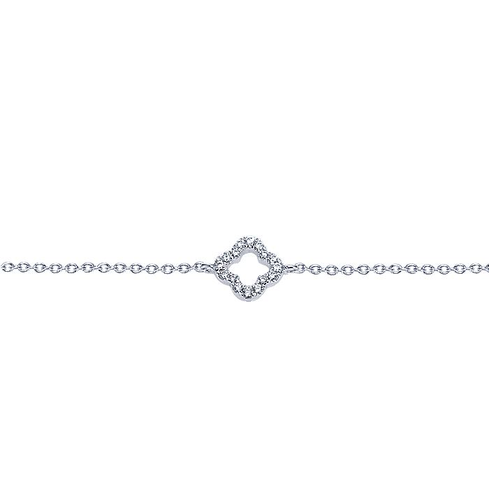 14K White Gold Chain Bracelet with Pavé Diamond Clover