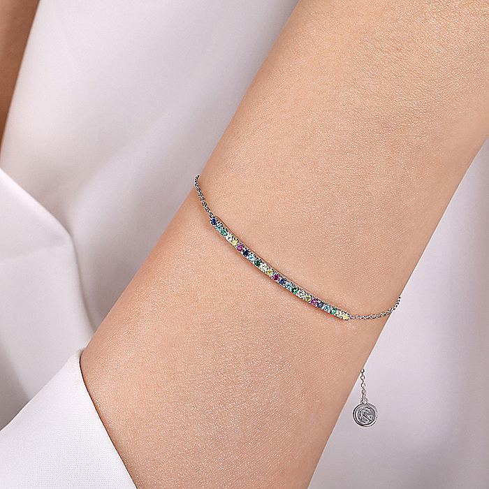 14K White Gold Chain Bracelet with Rainbow Color Stone Bar