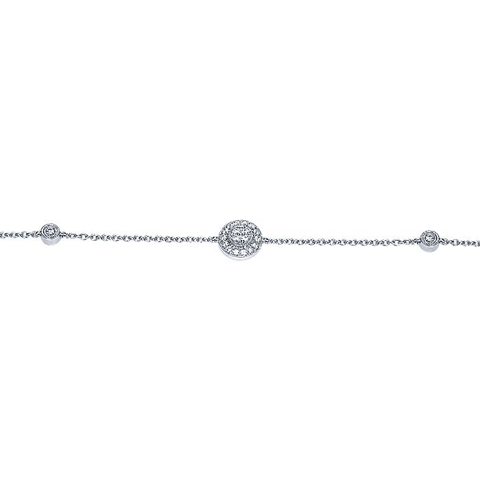 14K White Gold Chain Bracelet with Round Diamond Halo Station