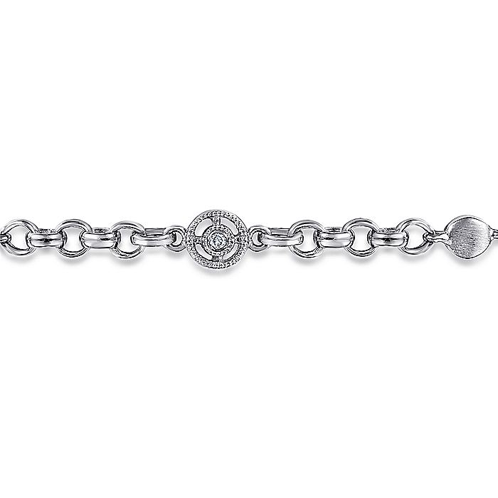14K White Gold Chain Bracelet with Round Diamond Millgrain Stations