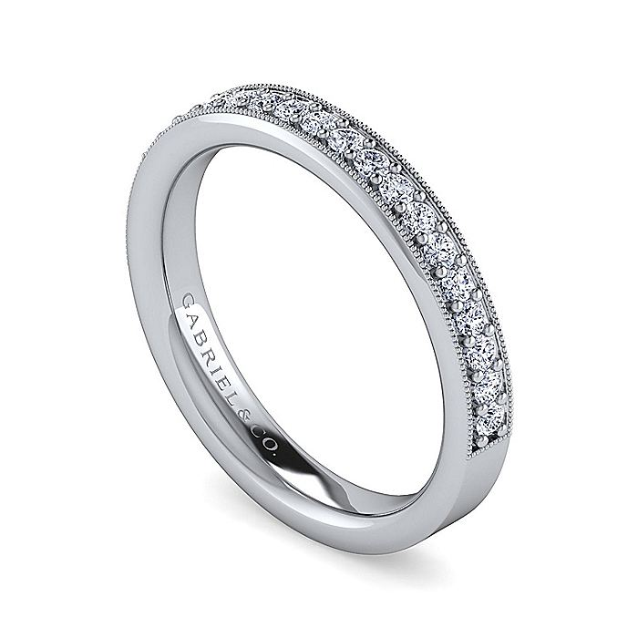 14K White Gold Channel Prong Diamond Anniversary Band with Millgrain