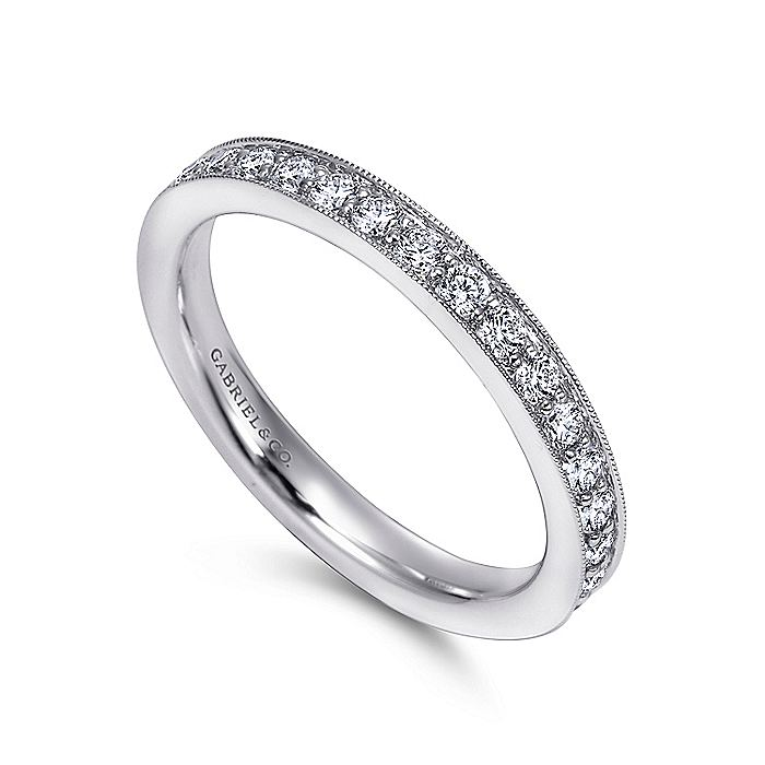 14K White Gold Channel Prong Diamond Wedding Band with Millgrain