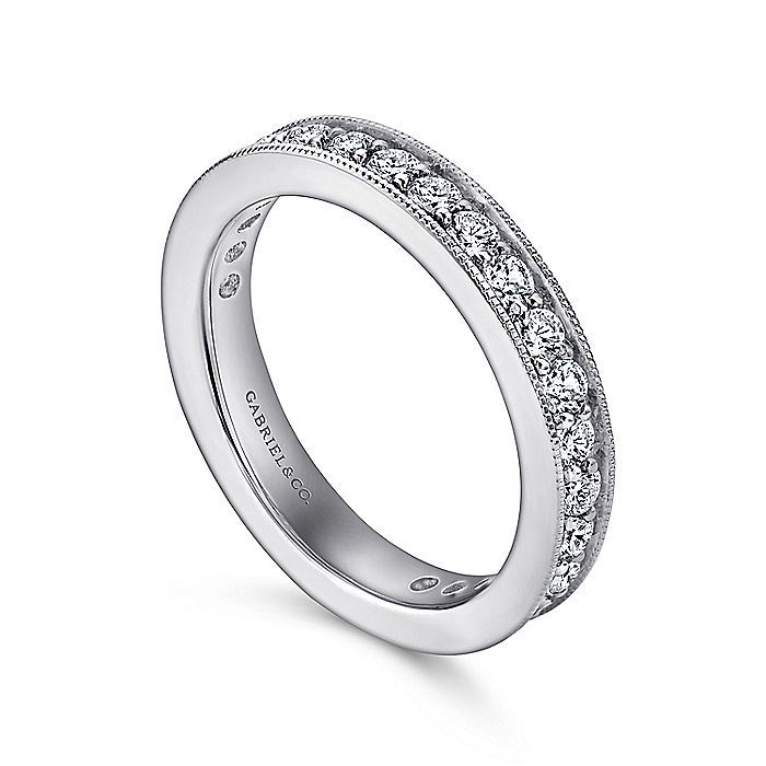 14K White Gold Channel Prong Set Diamond Eternity Band