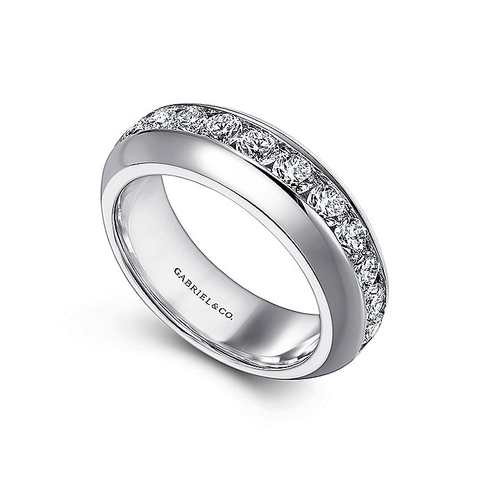 14K White Gold Channel Set 11 Stone Diamond Anniversary Band