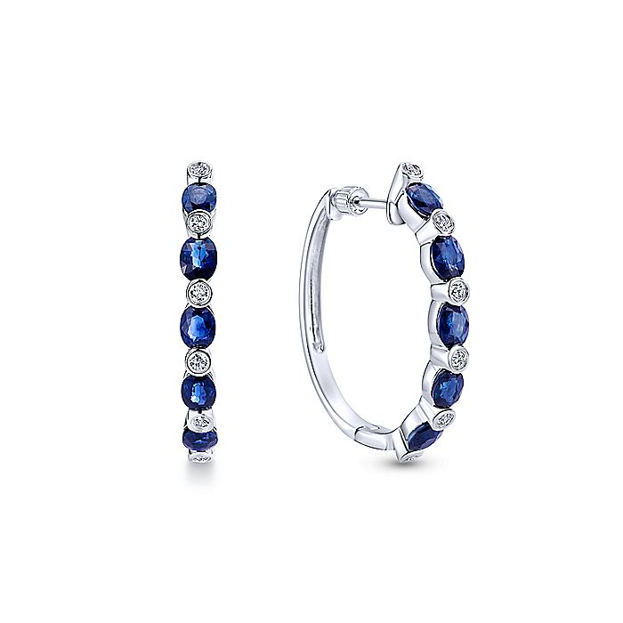 14K White Gold Channel Set 25mm Round Classic Diamond & Sapphire Hoop Earrings