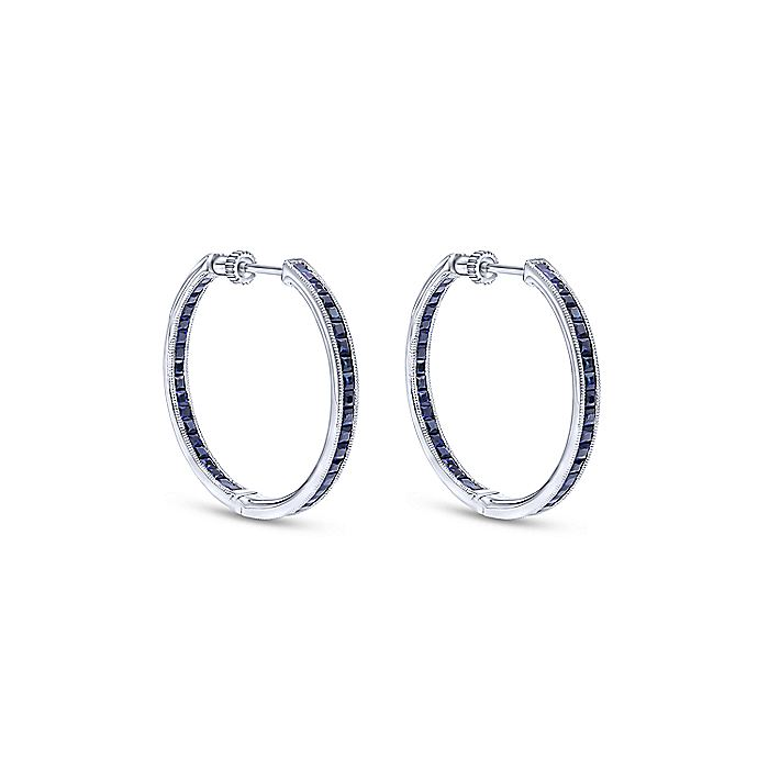 14K White Gold Channel Set 30mm Round Inside Out Sapphire Hoop Earrings