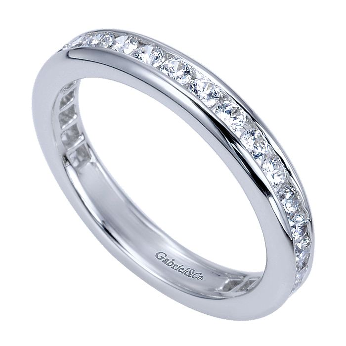 14K White Gold Channel Set Diamond Eternity Band