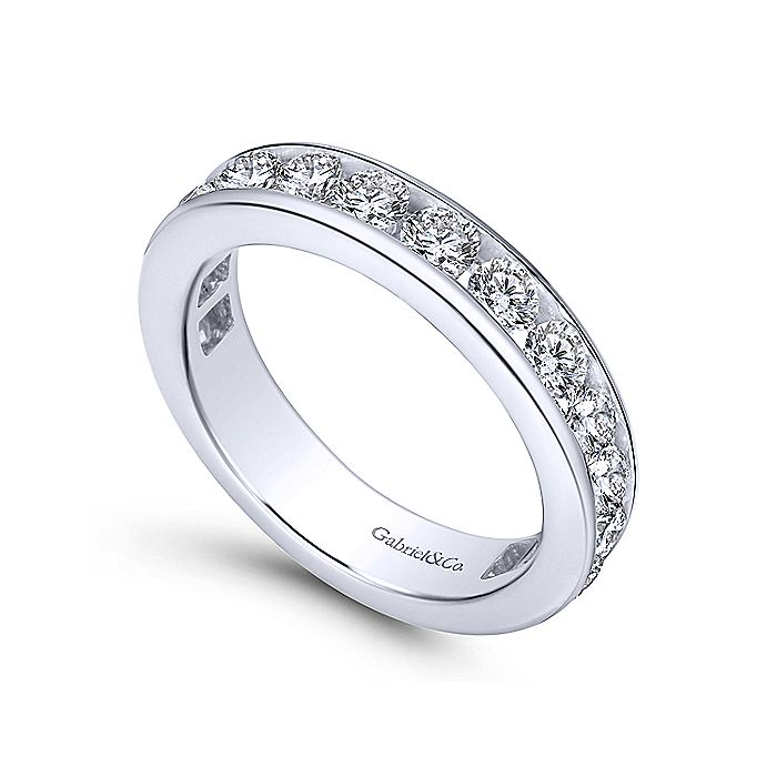 14K White Gold Channel Set Diamond Eternity Band