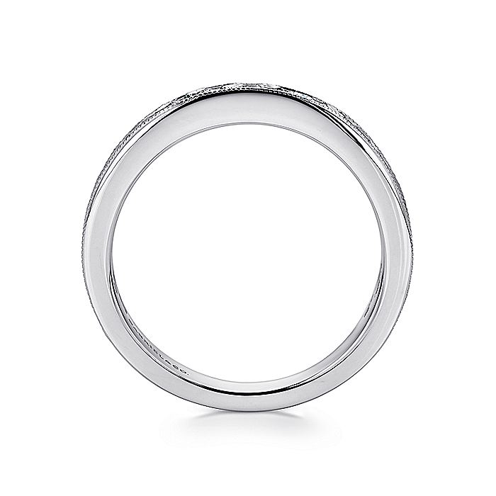 14K White Gold Channel Set Diamond Wedding Band with Millgrain