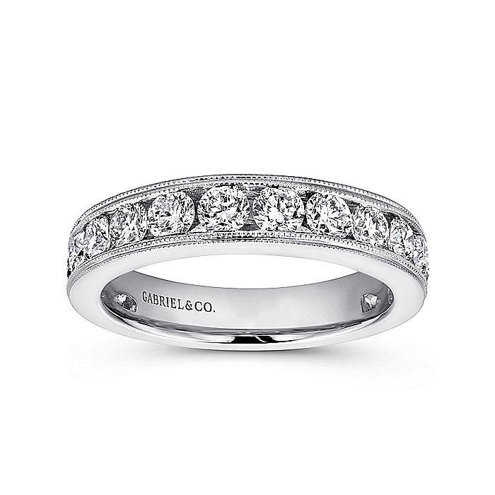 14K White Gold Channel Set Diamond Wedding Band with Millgrain