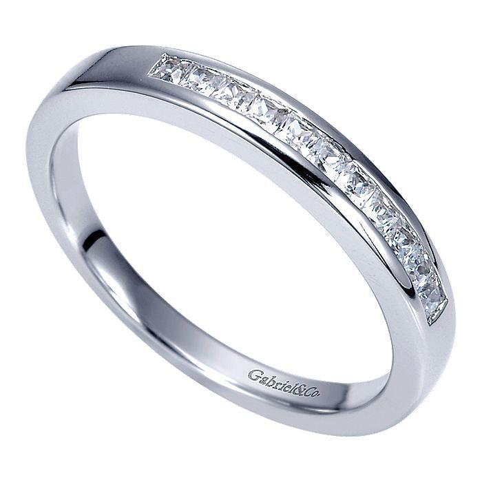 14K White Gold Channel Set Princess Cut 11 Stone Diamond Anniversary Band