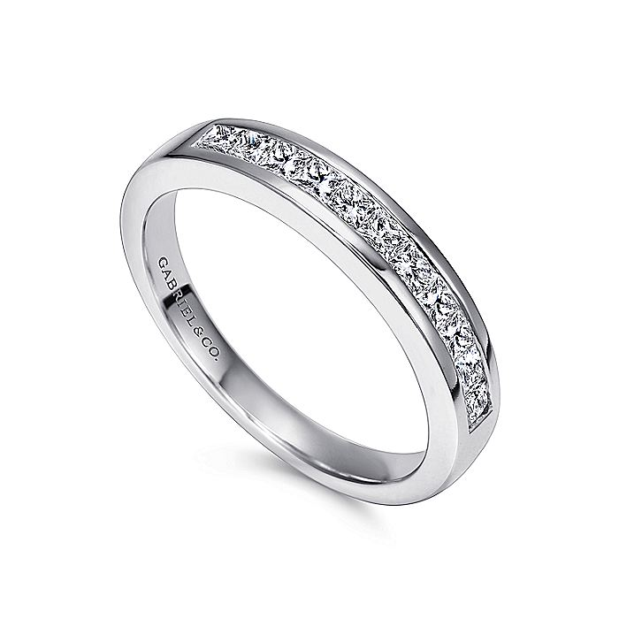 14K White Gold Channel Set Princess Cut 11 Stone Diamond Anniversary Band