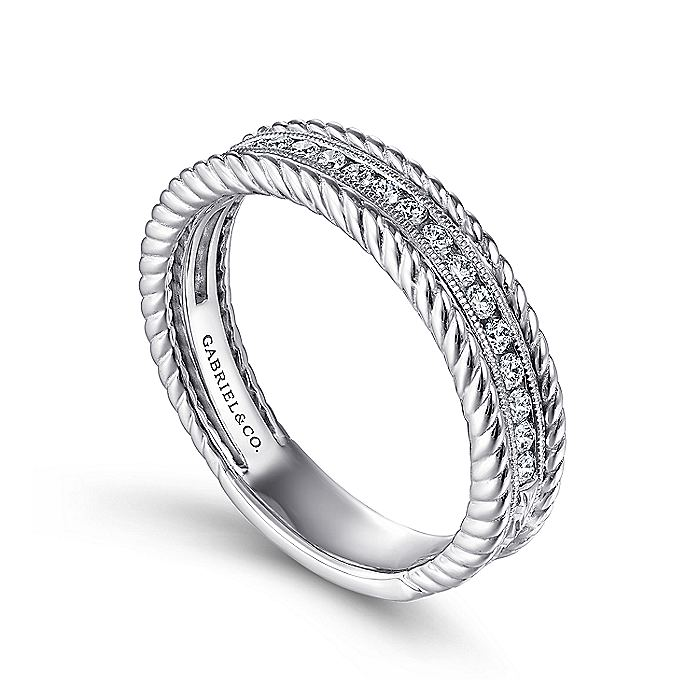 14K White Gold Channel Set Rope Frame Diamond Anniversary Band