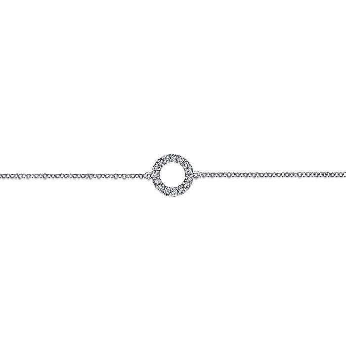 14K White Gold Circle Diamond Bracelet