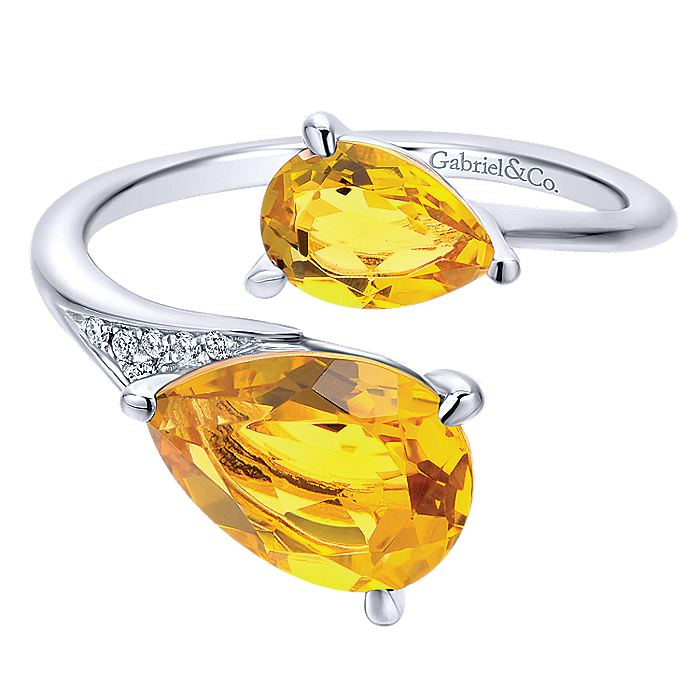 14K White Gold Citrine Pear Stones and Diamond Ring