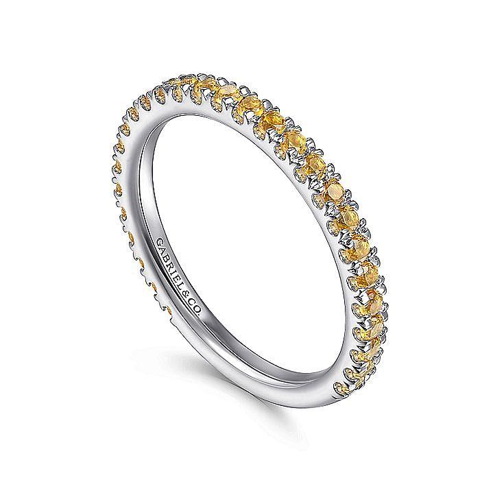 14K White Gold Citrine Stacklable Ring