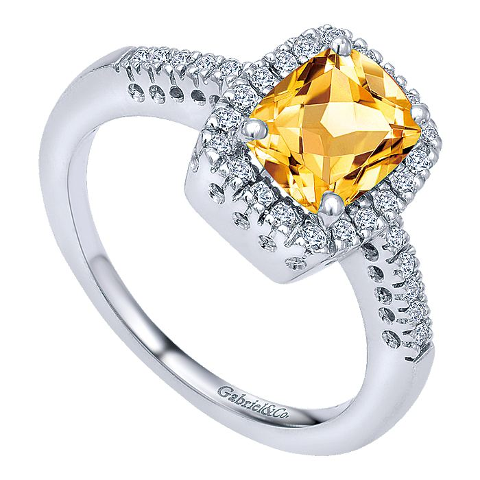 14K White Gold Citrine and Diamond Halo Ring