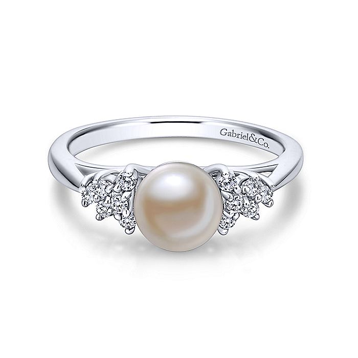 14K White Gold Classic Cultured Pearl Diamond Accented Stackable Ring