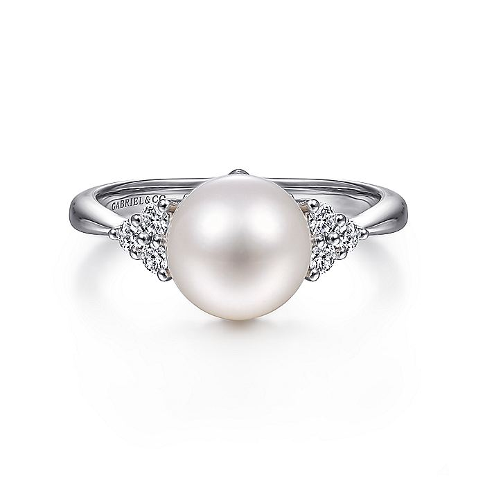 14K White Gold Classic Cultured Pearl Diamond Fashion Ring