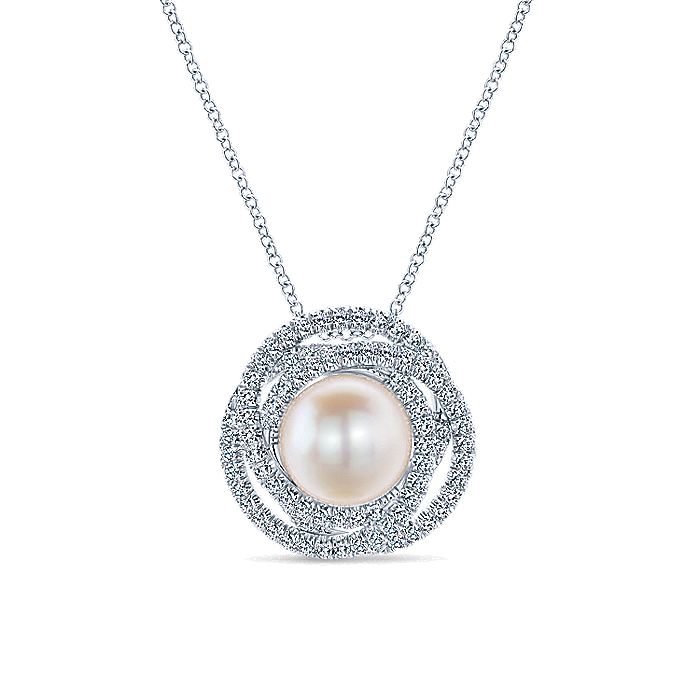14K White Gold Classic Cultured Pearl Layered Diamond Halo Pendant Necklace