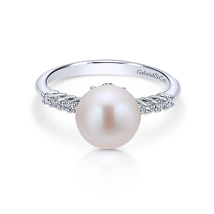 14K White Gold Classic Cultured Pearl and Diamond Ring
