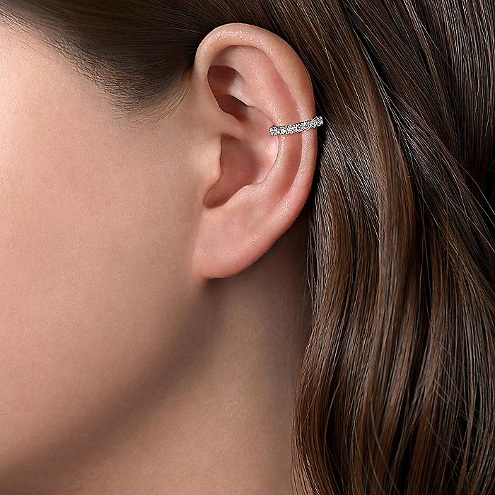 14K White Gold Classic Diamond Earcuff Earrings