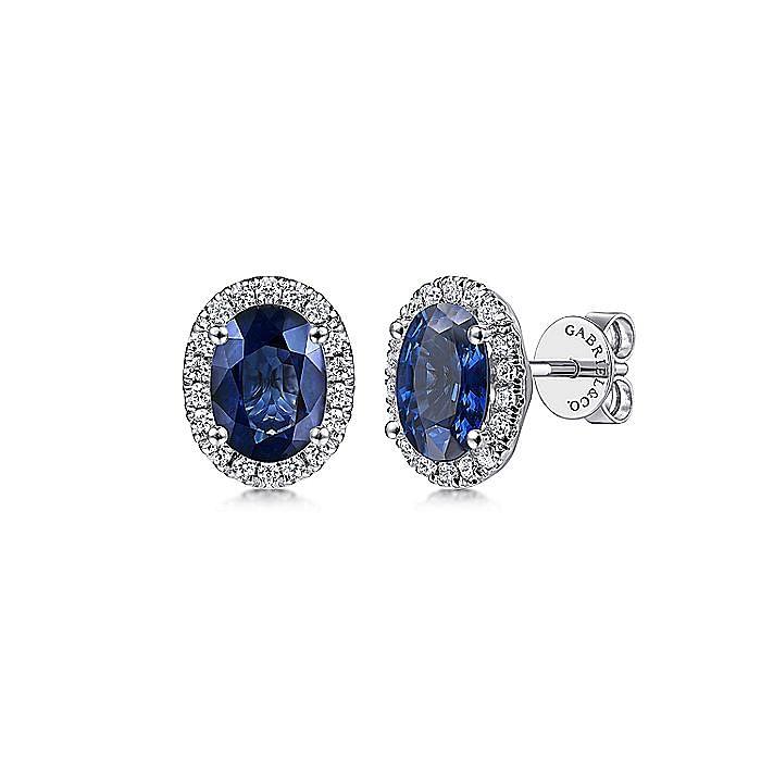 14K White Gold Classic Diamond Halo Oval Sapphire Stud Earrings