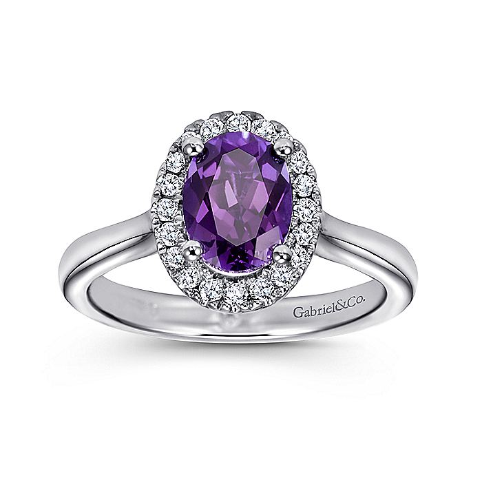 14K White Gold Classic Oval Amethyst and Diamond Halo Ring