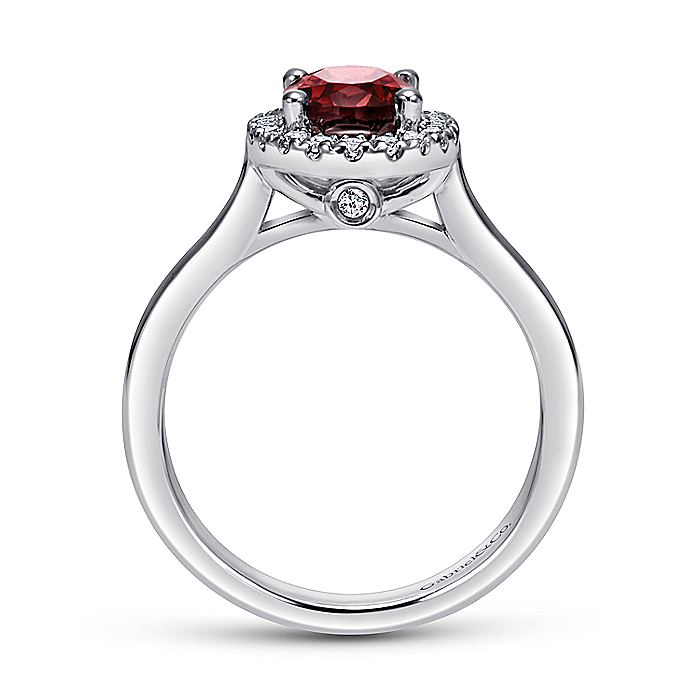 14K White Gold Classic Oval Garnet and Diamond Halo Ring