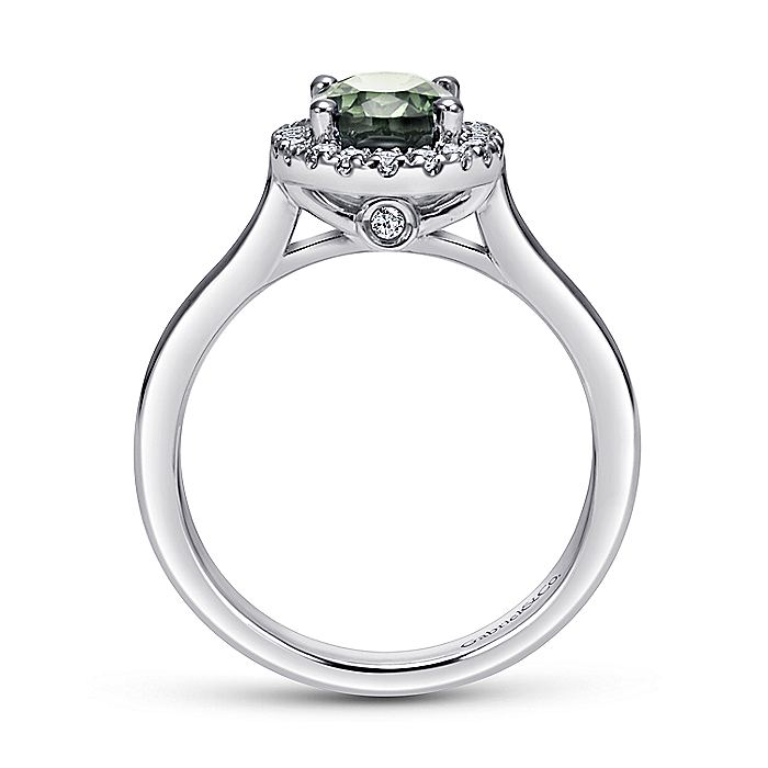 14K White Gold Classic Oval Green Amethyst and Diamond Halo Ring