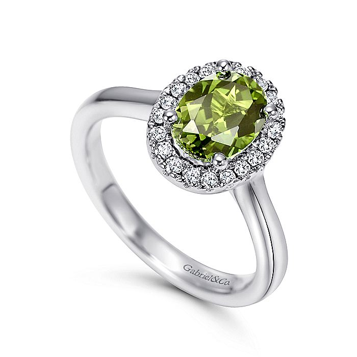 14K White Gold Classic Oval Peridot and Diamond Halo Ring