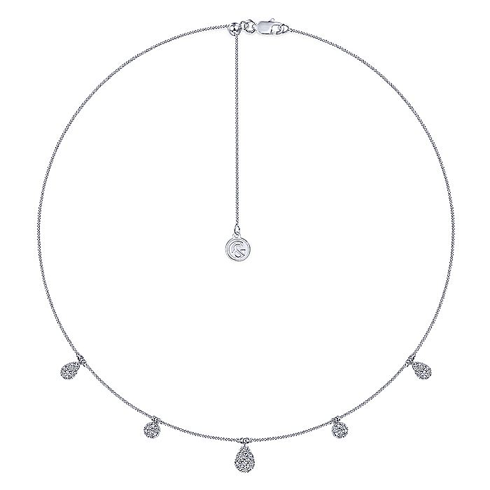 14K White Gold Cluster Diamond Station Necklace