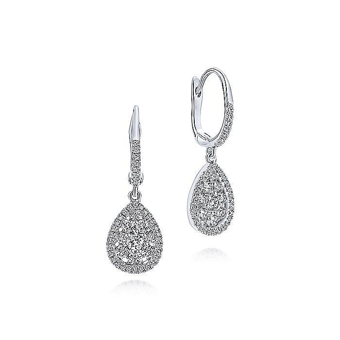 14K White Gold Cluster Diamond Teardrop Earrings