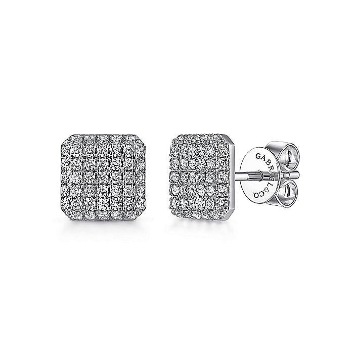 14K White Gold Cluster Square Diamond Stud Earrings