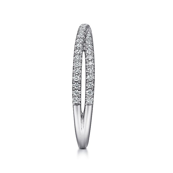 14K White Gold Criss Cross Diamond Stackable Ring